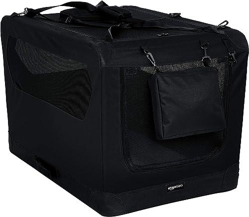 Amazon Basics 12002-36BK Panier de Transport Souple et Pliant pour Animal de Compagnie - 91 cm, Noir