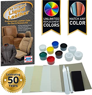 Liquid Leather Repair and Re-Color Kit for All Vinyl & Leather. Restores to New Condition; Car Seats, Boats, Upholstery, S...