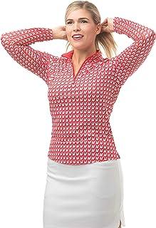 SanSoleil Women's SolCool UV 50 Long Sleeve Print Zip Mock Top