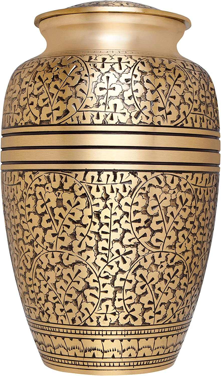 Liliane Memorials gold Funeral Cremation Urn with Leaves Branches Model in Brass for Human Ashes; Suitable for Cemetery Burial; Fits Remains of Adults up to 200 lbs, Large 200 lb,