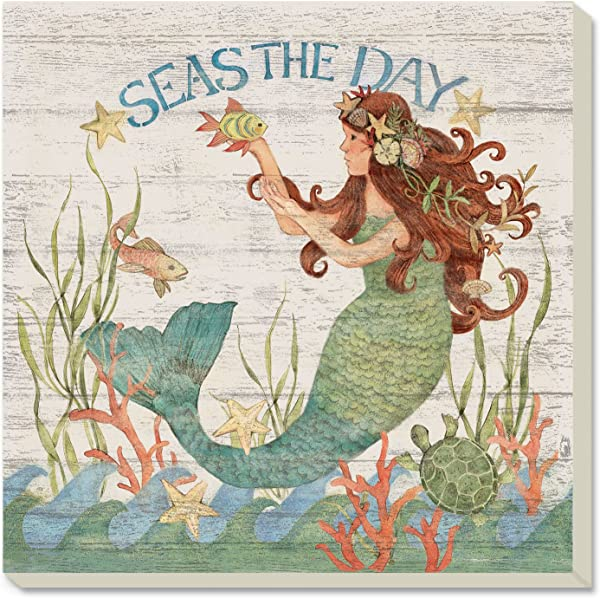 CounterArt Mermaid Sealife Art Seas The Day Absorbent Coasters Set Of 4