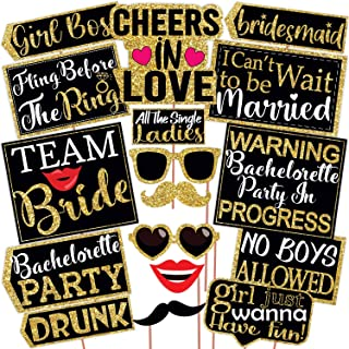 Wobbox Bachelorette Photo Booth Party Props DIY Kit, Light Golden & Black, Bachelorette Party Props 17 Pcs