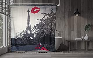 Axis Pink Paris Eiffel Tower Shower Curtain with Liner – Modern Monument Landscape Art - Water-Repellent Polyester Curtains - Rust-Proof Grommets,with 12 Heavy-Duty Hooks