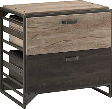 Bush Furniture Refinery Lateral File Cabinet, Rustic Gray/Charred Wood