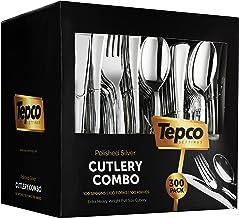 300 Plastic Silverware Set - Silver Plastic Cutlery Set - Disposable Silverware Set - Flatware Set - 100 Plastic Silver Fo...