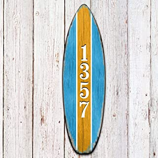 House Numbers Vertical - House Numbers Custom Address Sign - House Number Plaque - Surfboard House Numbers - Door Numbers Sign MA985223