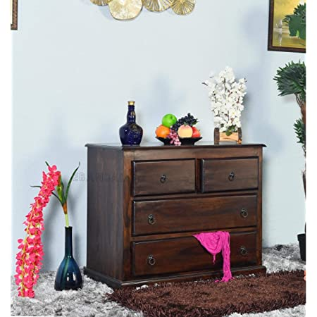 EBANSAL Wooden Chest of Drawer for Bed Room   Wooden Storage Furniture with 4 Drawers   Sheesham Wood, Walnut Finish