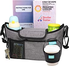 Sponsored Ad - Universal Stroller Organizer with expandable Diaper Bag and Cup Holders by Stroller Trotter Light Grey, L