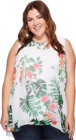 Plus Size Sleeveless Havana Tropical High-Low Hem Blouse