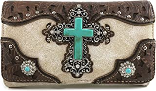 Justin West Tooled Leather Laser Cut Turquoise Rhinestone Cross Concho Studded Shoulder Tote Handbag Purse