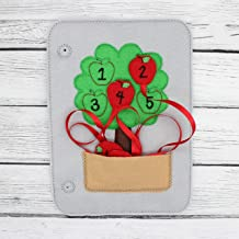 Apple Tree With Ribbon Counting Matching Felt Quiet Book Page, Busy Toddler Educational Learning Toy