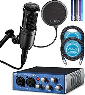 """Presonus AudioBox USB 96 2x2 USB Audio Interface Bundle with Audio-Technica AT2020 Mic, Blucoil 6"""" Pop Filter and 10-Ft XLR Cable"""
