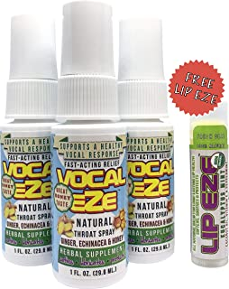 Vocal Eze, Natural Herbal Throat Spray - 3 Pack with Free (1) Lip Eze Lip Balm   Celebrity Endorsed   Relieve Fatigue, Dryness, Hoarseness, Soreness   Voice Immunity Premium Ingredients (3 Bottles)