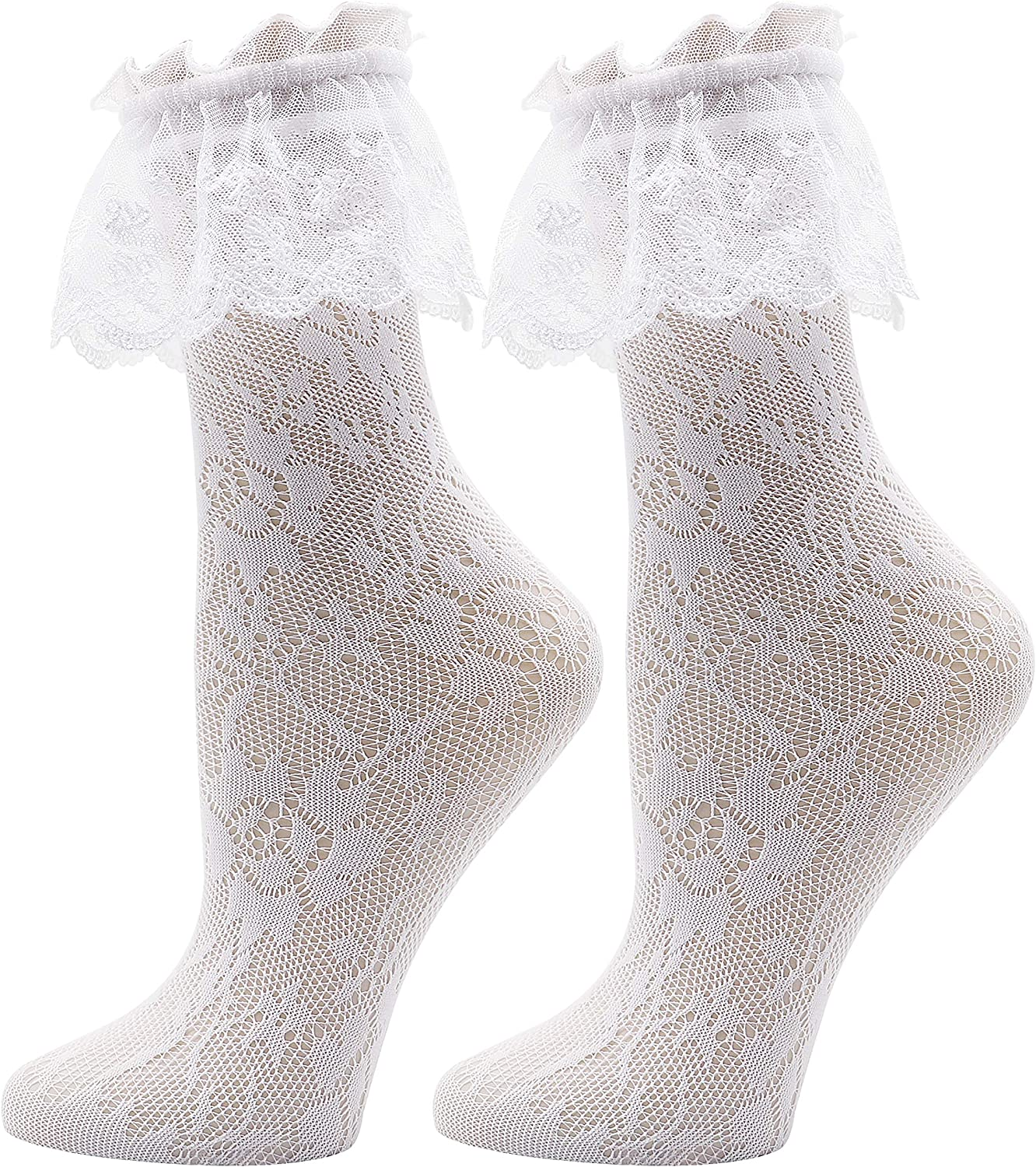 Lovful Women's Lace Anklet Sock with Ruffle, 2 Pairs Set
