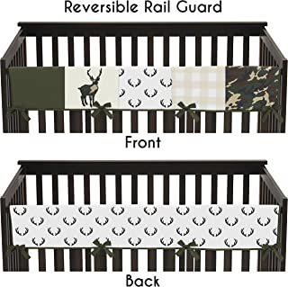 Sweet Jojo Designs Green and Beige Deer Buffalo Plaid Check Long Front Crib Rail Guard Baby Teething Cover Protector Wrap for Woodland Camo Collection - Rustic Camouflage
