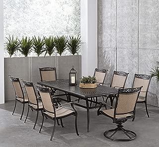 Hanover FNTDN9PCSW2C Fontana 9-Piece Dining Set Outdoor Furniture, Tan