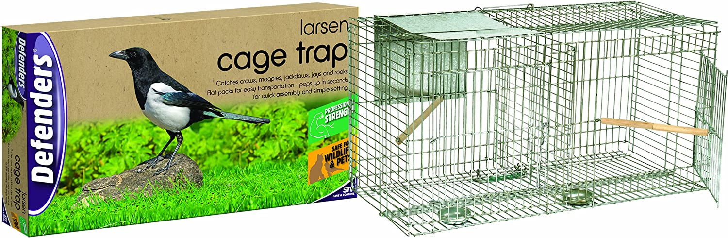 Defenders Magpie Cage Trap (Easy Assembly Humane Trap with Transport Handle, SunShade and Single SideEntry Door)  Flat Pack