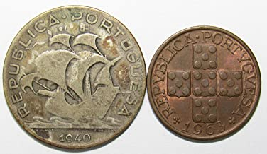 PT 1940 & 1963 Lot of 2 Portugal 5 Escudos & 20 Centavos Coins Good+/XF
