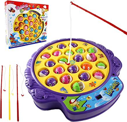 Haktoys Fishing Game Toy Set with Single-Layer Rotating...