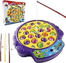 Haktoys Fishing Game Toy Set with Single-Layer Rotating...