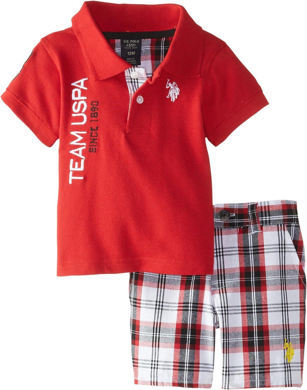 U.S. Polo Assn. Baby Boys' Pique Polo and Plaid Short Set