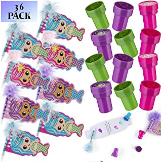 Favonir™ Mermaid Stationary Party Souvenirs Favors 36 Gift Pack – 12 Mini Notebooks – 12 Feather Pens – 12 Stampers – Kids Birthday Party Supplies Bulk Set - Ideal As Party Favor, Reward Prizes, carnival And Events