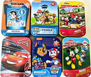 6 Collectible Puzzle Tins for Boys Ages 5+ Gift Set Bundle with Mickey Mouse/Donald Duck/Goofy, Paw Patrol, Cars, Rusty Rivets