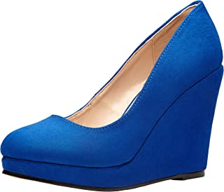 Women's Vintage Wedges Heels Closed Toe Pumps Dress Shoes