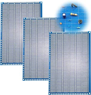 """YUNGUI PCB Protoboard,3 Pack PCB Prototype Board Solderable Breadboard for DIY Electronics and Soldering kit(4"""" X 6"""",Blue)"""