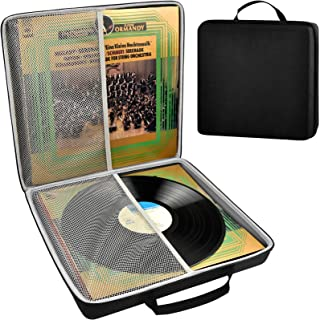 Vinyl Record Storage Case, Portable Vintage Records Carrying Holder Fits for All Standard LP & EP Records - 33 1/3, 45 and...
