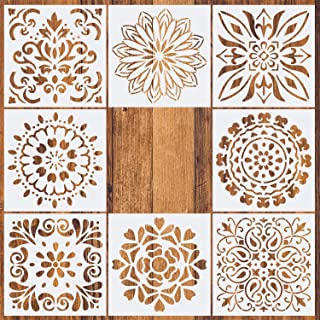 CZONG Mandala Painting Stencils Reusable Stencil Laser Cut Painting Template Floor Wall Tile Fabric Wood Furniture Stencils, Set of 8 (6x6 inch)