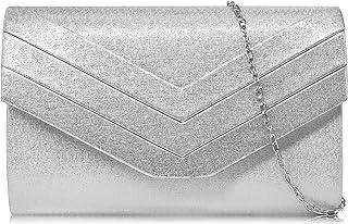 Milisente Damen Clutch, Handtasche Clutch Umschlag Crossbody schultertasche Clutch Tasche Abendtasche (pu Leder Silber)