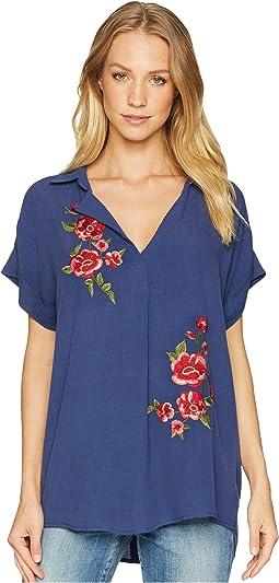 V-Neck Floral Embroidered Top
