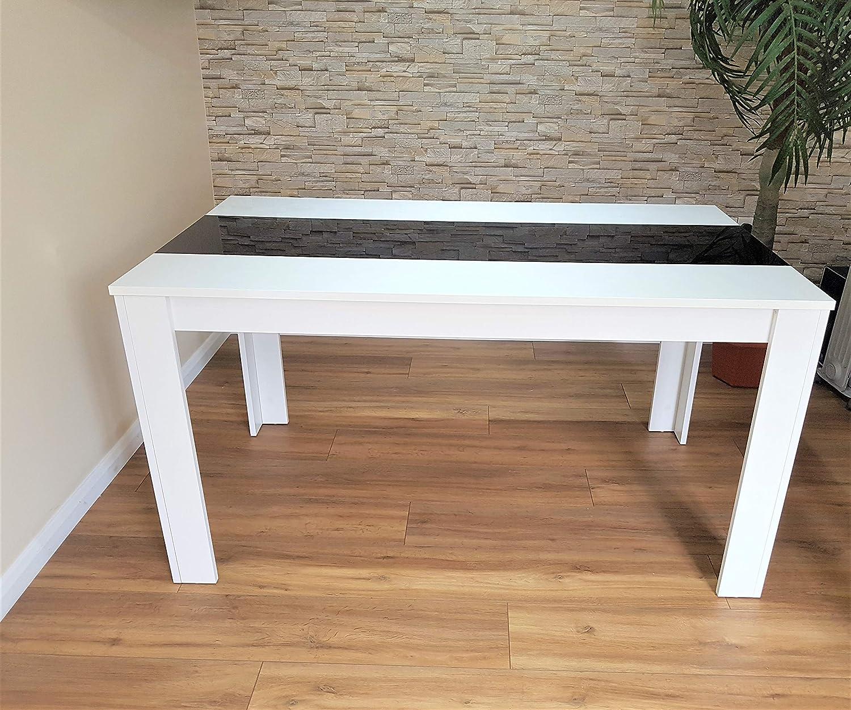 KOSY KOALA Table de Salle à Manger noire et blanche en Bois et 6 Chaises en Faux Cuir et en Métal - Table Seulement, sans les Chaises Table Uniquement (Chaises Non Incluses).