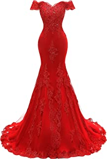 Women's V Neckline Beaded Evening Gowns Mermaid Lace Prom Dresses Long H074