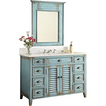 "46"" Abbeville Rustic Blue Distressed Bathroom Sink Vanity with Mirror CF-28885-MIR"