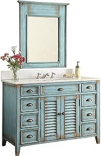 "46"" Abbeville Rustic Blue Distressed Bathroom Sink Vanity with Mirror CF-28885-MIR"