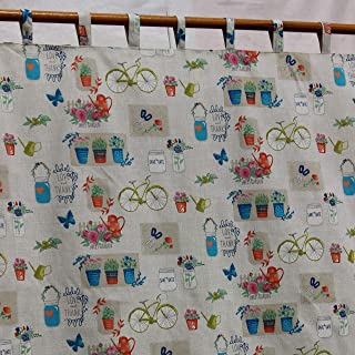 Retro Curtains Garden Curtains Bike Curtains French Country Home Decor Kids Curtains Butterfly Rustic Pinch Flower Print Garden Theme Nursery Curtains