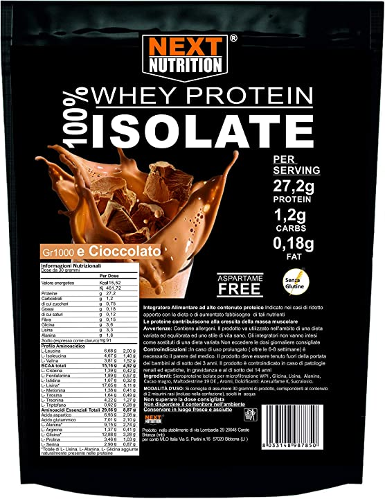 Proteine 100% isolate whey kg 1 gusto cacao immediata assimilazione next nutrition ?B0831L8SZN