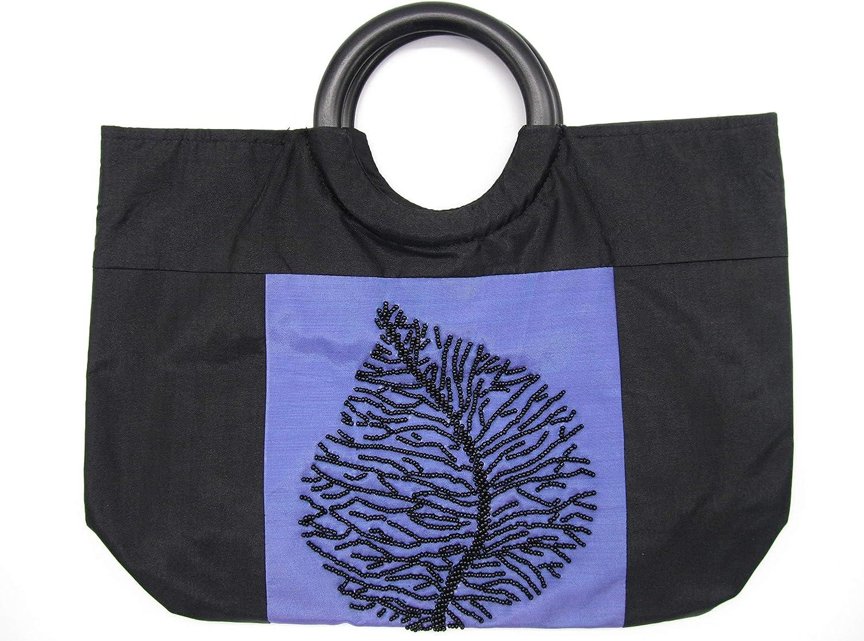 JJ Gifts Silk Handbag with Leaf Design in Black Bead
