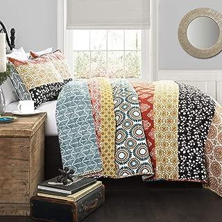 Lush Decor Bohemian Striped Quilt Reversible 3 Piece Colorful Boho Design Bedding Set, Full/Queen, Turquoise