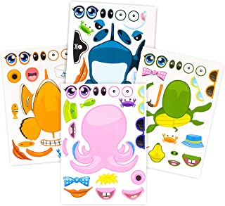24 Pack Make-A-Sea Sticker Sheets - Stickers of All Your Kids Favorite Sea Life - Fun Craft Project for Children - Perfect Birthday Party Favors for Mermaid Themed Parties - M & M Products Online