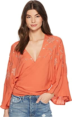 Lucky Brand - Embroidered Wrap Top