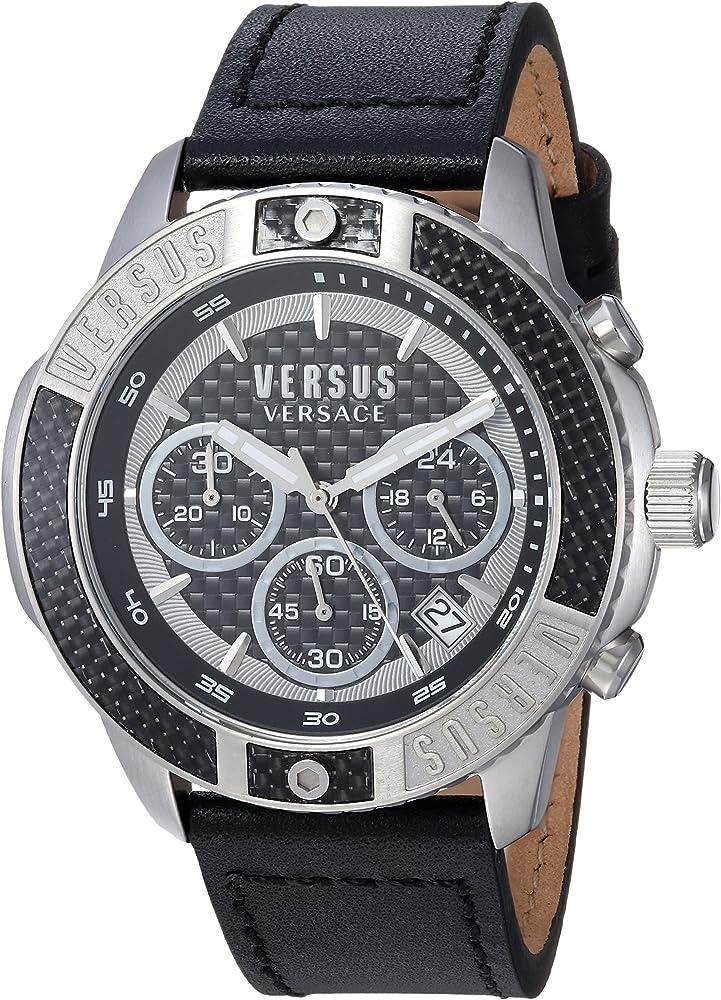 Versus versace orologio cronografo analogico uomo con cinturino in pelle cassa in acciaio inox VSP380117
