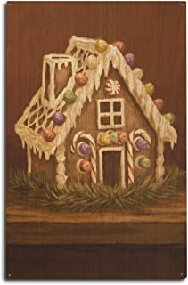 Lantern Press Gingerbread House - Christmas Oil Painting (10x15 Wood Wall Sign, Wall Decor Ready to Hang)