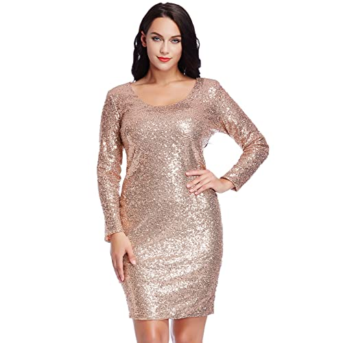 a7de5ed721b Lookbook Store LookbookStore Women s Plus Size Sequin Party Club Cocktail  Bodycon Short Dress Champagne