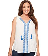 Lucky Brand - Plus Size Embroidered Center Front Top