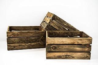 Set 3 Cajas de Madera Pino Sam, Envejecido, Marrón, Cajas Almacenamiento. 49x31x24cm. Incluye Imán Personalizable de Regalo.
