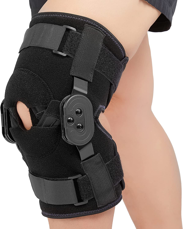 Nvorliy Plus Size security Alternative dealer ROM Hinged Knee Brace Patella Adjustable Open
