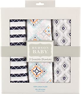 Hudson Baby Unisex Baby Muslin Swaddle Blankets, Aztec, Pack of 3, One Size